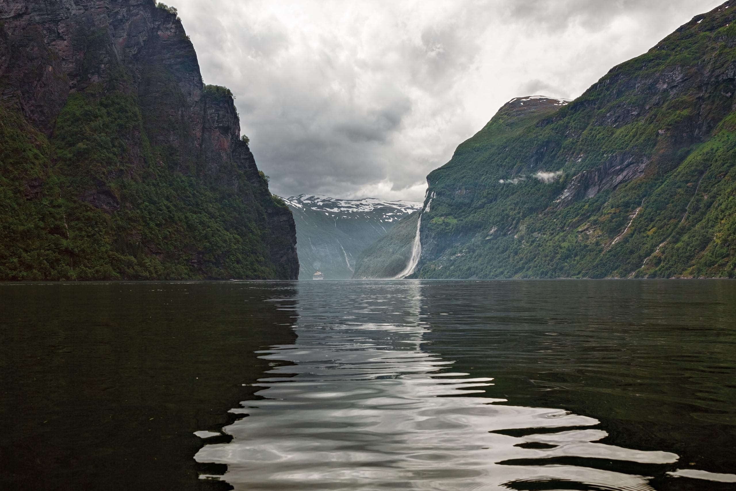 Geiranger at the end of the Sunnylvsfjorden, Norway